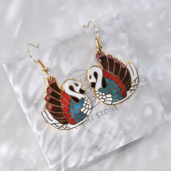 Duck - Vintage Jingtai Blue Cloisonne Earrings