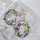 World Under Water - Blue - 1990s Vintage Handmade Cloisonne Earrings | Light Stone
