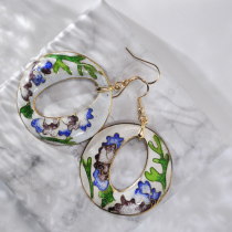 World Under Water - Blue - Vintage Jingtai Blue Cloisonne Earrings