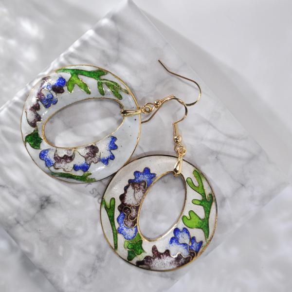 World Under Water - Blue - Vintage Jingtai Blue Cloisonne Earrings