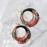 Peony - Black -  1990s Vintage Handmade Cloisonne Earrings | Light Stone