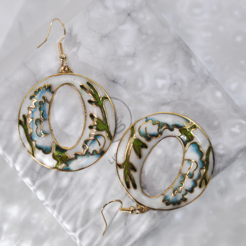 World Under Water - Light Blue - Vintage Jingtai Blue Cloisonne Earrings