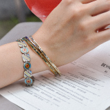 -25% For Two  -33% For Three  Jingtai Blue Vintage Bangle - Gold - Cooper Base Cloisonne