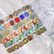 -25% For Two  -33% For Three  Square- Jingtai Blue Vintage Bracelet - Gold - Cooper Base Cloisonne