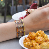 -25% For Two| -33% For Three | Pope - Jingtai Blue Vintage Bracelet - Gold - Cooper Base Cloisonne