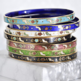 -25% For Two| -33% For Three |Jingtai Blue Vintage Bangle - Gold - Cooper Base Cloisonne