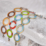 -25% For Two  -33% For Three   Round - Jingtai Blue Vintage Bracelet - Gold - Cooper Base Cloisonne