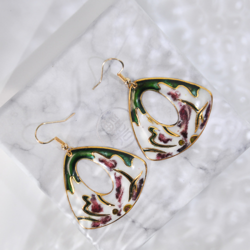 Grass - Deep Green - Vintage Jingtai Blue Cloisonne Earrings