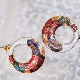 Peony - Round White - Vintage Jingtai Blue Cloisonne Earrings