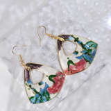 Garden - Blue and Red - Vintage Jingtai Blue Cloisonne Earrings