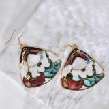Garden - Brown - Vintage Jingtai Blue Cloisonne Earrings