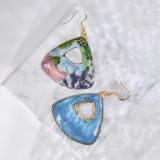 Garden - Pink & Blue - Vintage Jingtai Blue Cloisonne Earrings