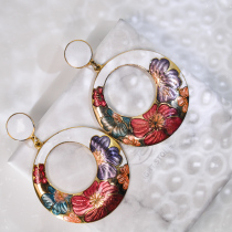 Peony - Round White - Vintage Jingtai Blue Cloisonne Earrings