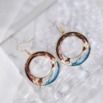 Hills - Blue- Vintage Jingtai Blue Cloisonne Earrings