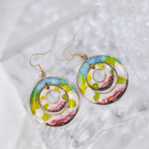 Hills - Spring Time - Vintage Jingtai Blue Cloisonne Earrings