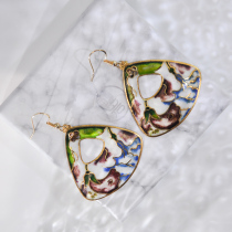 Garden - Purple - Vintage Jingtai Blue Cloisonne Earrings