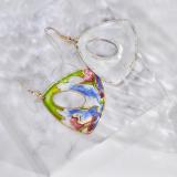 Grass - Green - Vintage Jingtai Blue Cloisonne Earrings