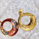Peony - Round Red - Vintage Jingtai Blue Cloisonne Earrings
