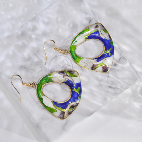 Grass - Deep Blue - Vintage Jingtai Blue Cloisonne Earrings