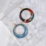 Hills - Night - Vintage Jingtai Blue Cloisonne Earrings