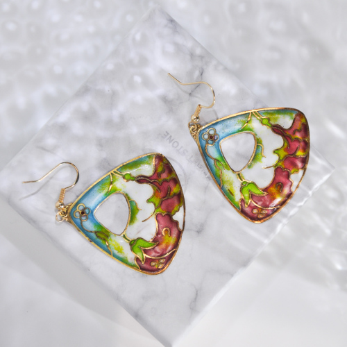 Garden - Dragon Fruit - Vintage Jingtai Blue Cloisonne Earrings