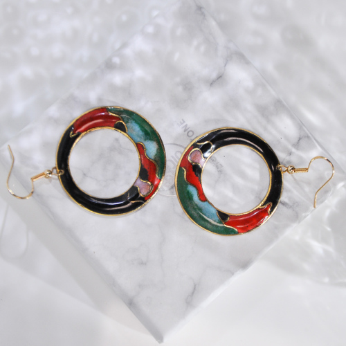 Hills - Night - Vintage Jingtai Blue Cloisonne Earrings