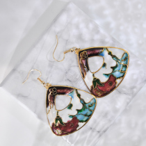 Garden - Brown - Vintage Jingtai Blue Cloisonne Earrings