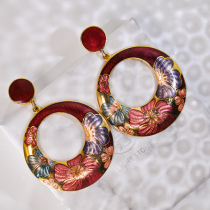 Peony - Round Red - Vintage Jingtai Blue Cloisonne Earrings