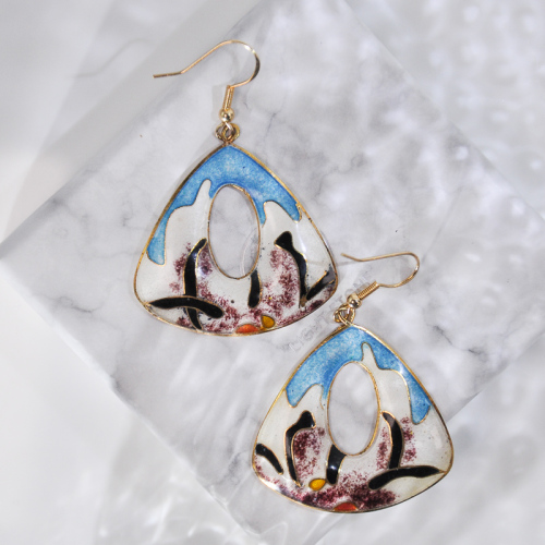 Grass - Blue - Vintage Jingtai Blue Cloisonne Earrings