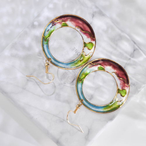 Hills - Cherry - Vintage Jingtai Blue Cloisonne Earrings