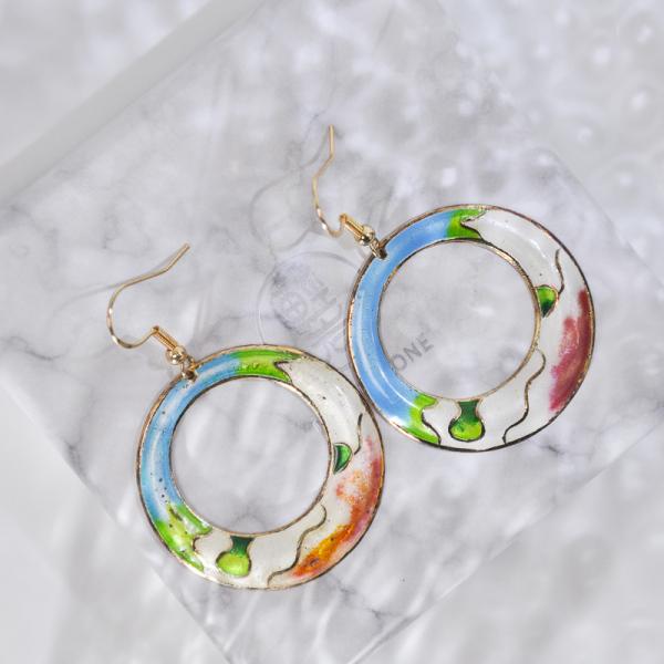 Hills - Spring - Vintage Jingtai Blue Cloisonne Earrings