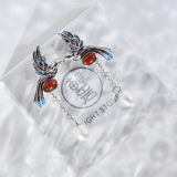 Bird Couple-  Cloisonné Pearl 925 Silver Earrings