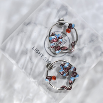Lucky Clouds - Old Silver - Cloisonne 925 Silver Ear Stud