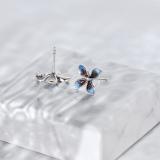 Flower - Cloisonne Burning Blue Silver Ear Stud