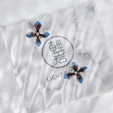 Flower - Cloisonne Burning Blue Silver Ear Stud