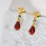 Mulan- Magnolia under the window - Red Agate Silver Earrings