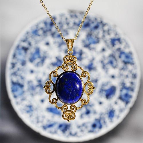 Universe - Vintage Necklace - Lazurite 925 Silver - Energy Stone