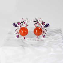 Sunset- 925 Silver Red Agate Earrings