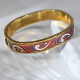 Lucky Clouds - Red - Jingtai Blue Vintage Bangle - Cooper Base Cloisonne