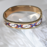 Lucky Clouds - White Red - Jingtai Blue Vintage Bangle - Cooper Base Cloisonne