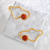 Gold Cloud - Red Agate 925 Silver Earrings