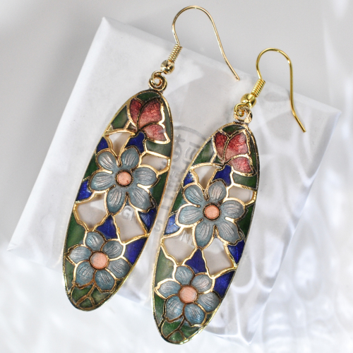 Oval - Flower - Vintage Jingtai Blue Cloisonne Copper Earrings