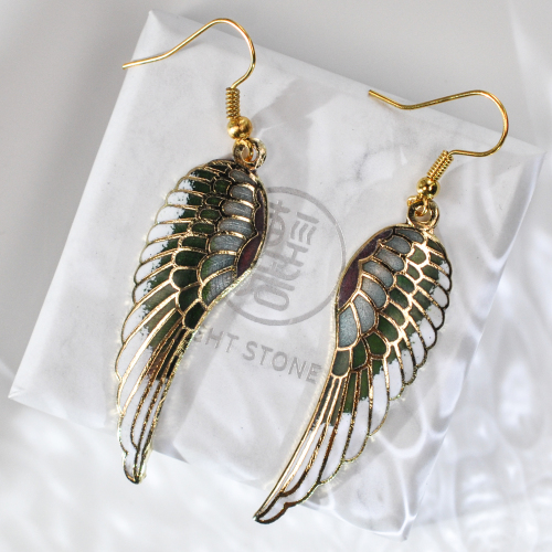 Wings - Green - Vintage Jingtai Blue Cloisonne Copper Earrings