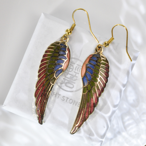 Wings - Red - Vintage Jingtai Blue Cloisonne Copper Earrings
