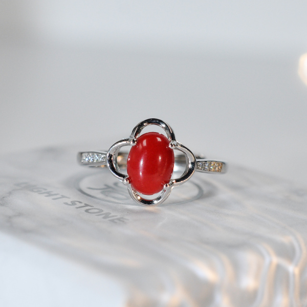 Lucky Clover - Red Coral 925 Silver Ring - Size Adjustable (Fit Size 4 -12)