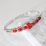 Beans - Red Coral 925 Silver Bracelet