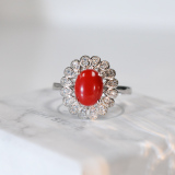 Online Rings - Flower - Red Coral 925 Silver Ring - Asian Gift | LIGHT STONE
