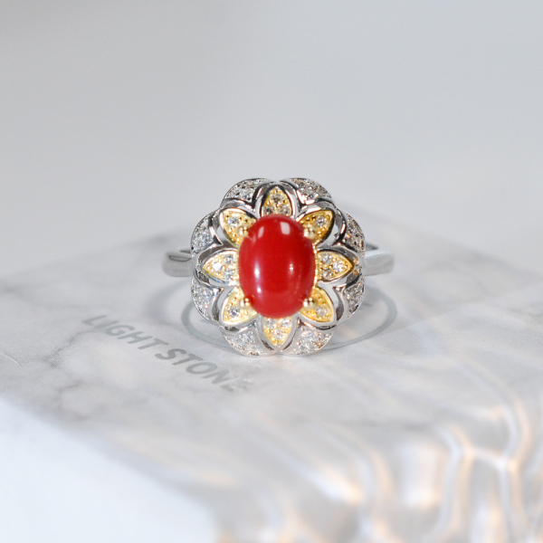 Gold Flower - Red Coral 925 Silver Ring - Size Adjustable (Fit Size 4 -12)