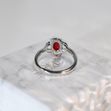 Online Rings - Lucky Clover - Red Coral 925 Silver Ring - Asian Gift | LIGHT STONE