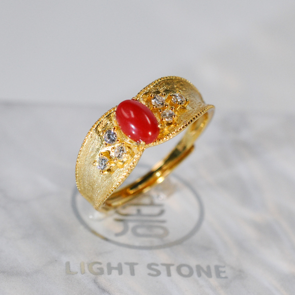 Vintage Royal - Red Coral 925 Silver Ring - Gold Painted - Size Adjustable (Fit Size 4 -12)